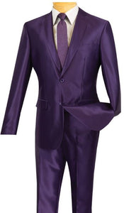 Slim Fit Sharkskin Suit (Purple) DKS2RK-5