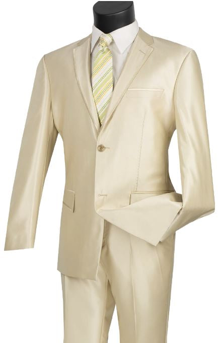 Slim Fit Sharkskin Suit (Champagne) DKS2RR-4
