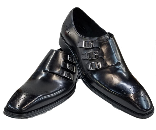 Steven Land Monk Strap Shoes (Black) DKSL0070