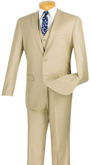 Slim Fit 3pc Suit (Beige) DKSV2900