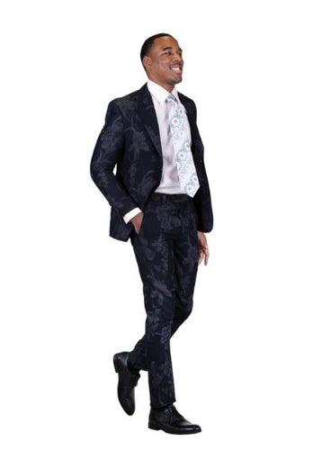 Stacy Adams Slim Fit Floral Print T/T Suit DK9060SEA