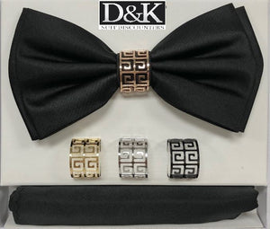 Solid Big Bow Ties w/ 4 Rings (Black) DKRINGBT