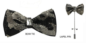 Patterned Crystal Bow Tie & Lapel Pin (Black) DKCAMOCRYST
