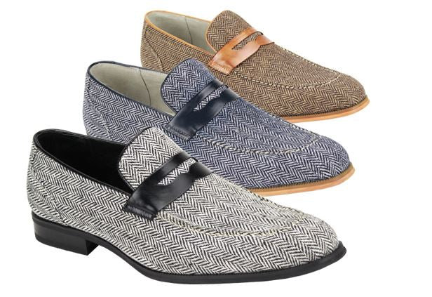 Giovanni Tweed Slip on Dress Shoe (Tan) DKGIKETAN