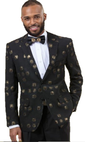 Modern Fit Fashion Sport Coat (Black & Gold) DKJ36