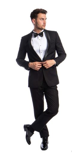 Slim fit 1 button shawl collar tuxedo (Black) DKMT283S