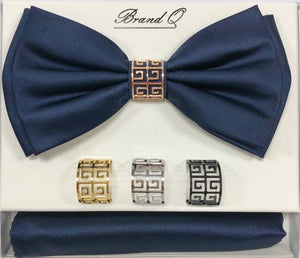 Solid Big Bow Ties w/ 4 Rings (Navy) DKRINGBT