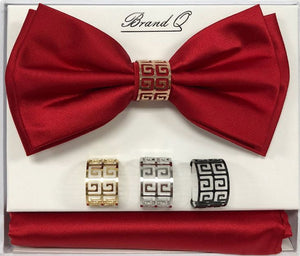 Solid Big Bow Ties w/ 4 Rings (Red) DKRINGBT