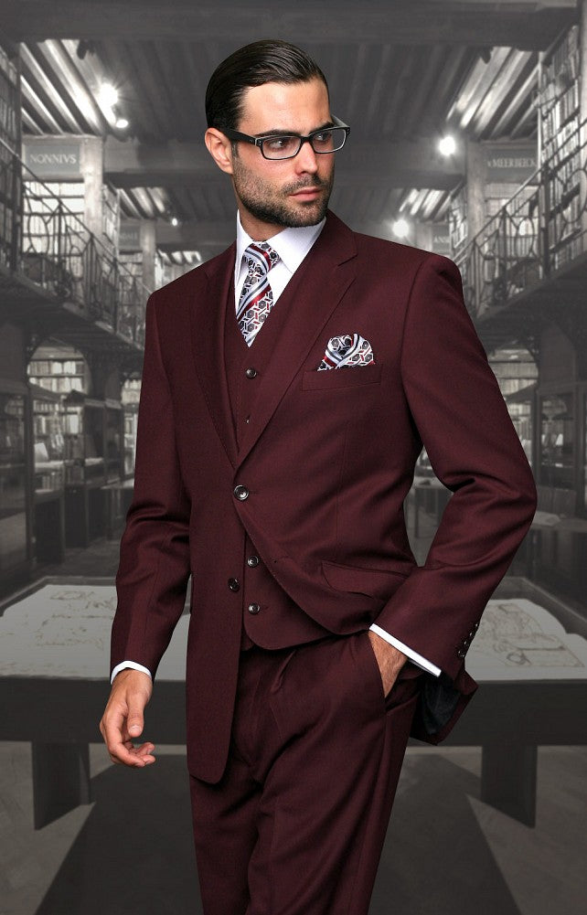 Traditional Fit 3pc 100% Wool (Burgandy) DKTZ1