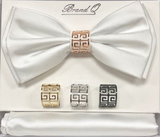 Solid Big Bow Ties w/ 4 Rings (White) DKRINGBT