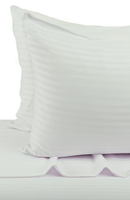 White Cotton Sateen Stripe Set: Fitted and Flat Sheets