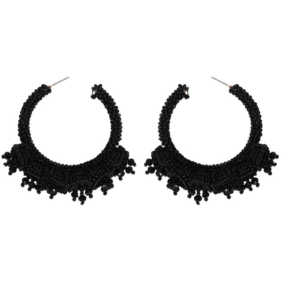 Black Beaded Hoop Earrings - hausofjan.com