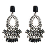 Black Rhinestone Drop Earrings - www.hausofjan.com