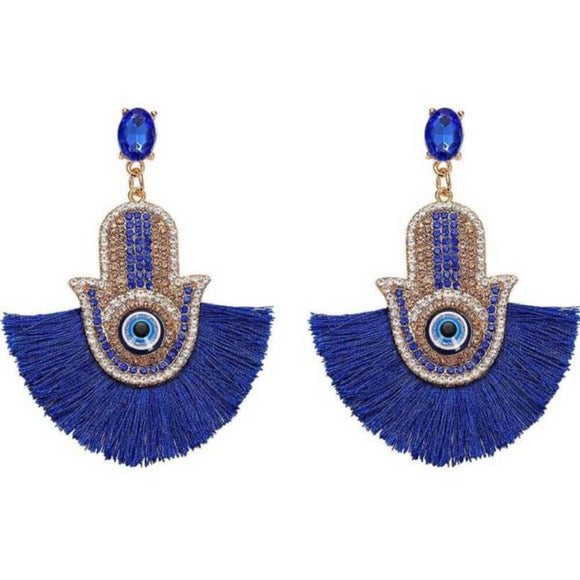 Blue Hamsa Drop Earrings