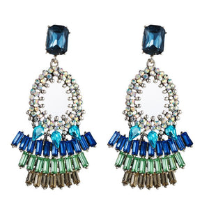 Blue Rhinestone Drop Earrings - www.hausofjan.com