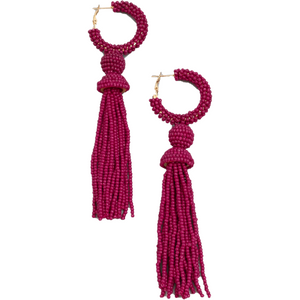 Burgendy Beaded Drop Earrings - hausofjan.com