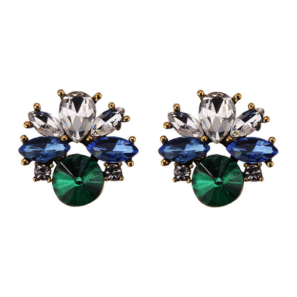 Clear Blue Green Stud Earrings - www.hausofjan.com