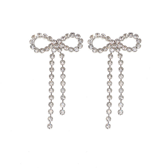 Clear Bow Rhinestone Earrings
