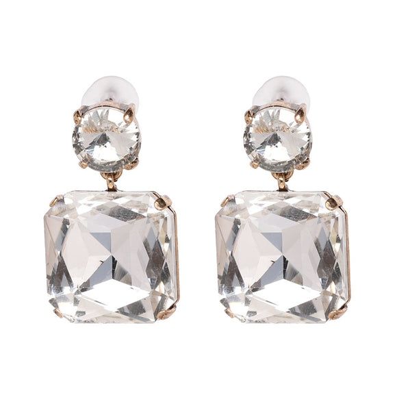 White Rhinestone Drop Earrings - www.hausofjan.com
