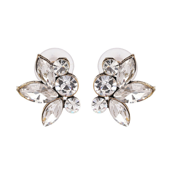 Clear Rhinestone Stud Earrings - www.hausofjan.com