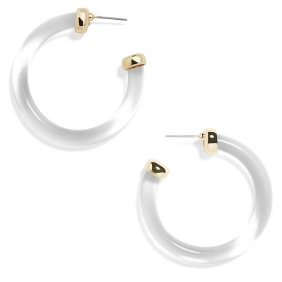 Clear and Gold Hoop Earrings  - hausofjan.com