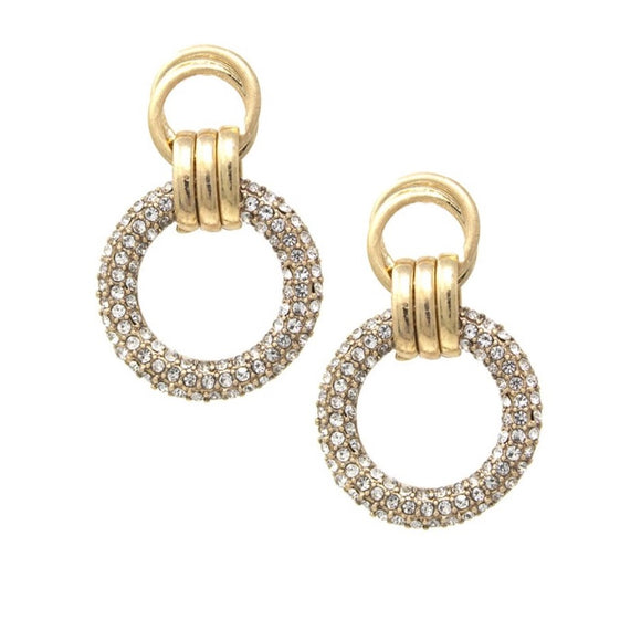 Gold and Clear Rhinestone Drop Earrings - hausofjan.com