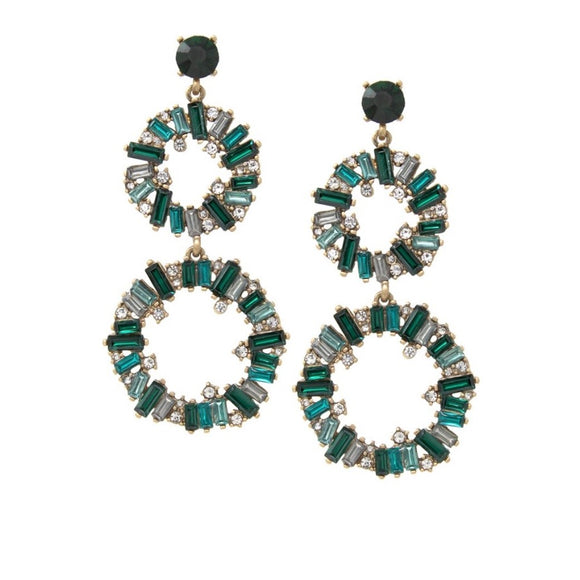 Green Circle Rhinestone Drop Earrings - hausofjan.com