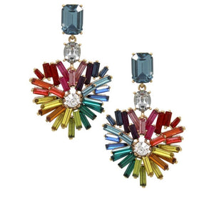 Heart Rhinestone Drop Earrings - hausofjan.com