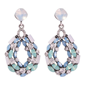 Light Blue Rhinestone Drop Earrings - www.hausofjan.com
