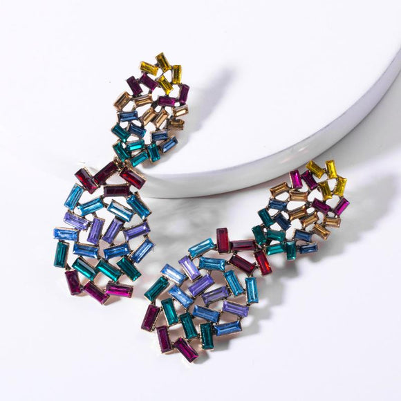 Multi-Color Rhinestone Drop Earrings - www.hausofjan.com