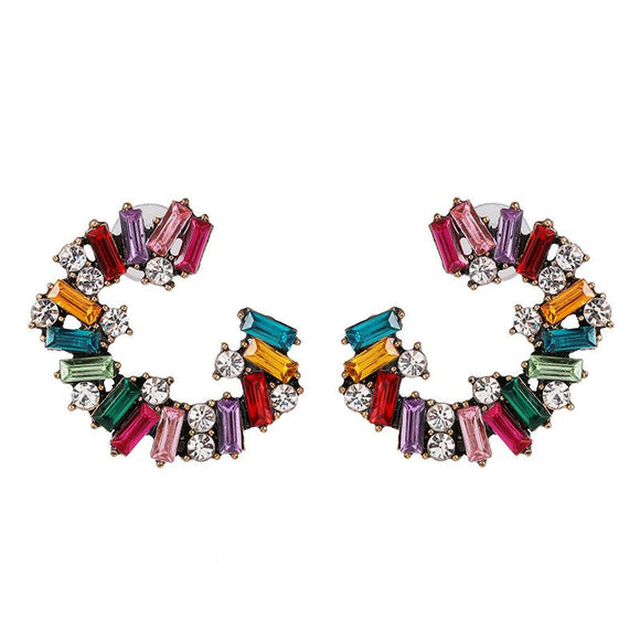 Multi-Colored Rhinestone Earrings - www.hausofjan.com