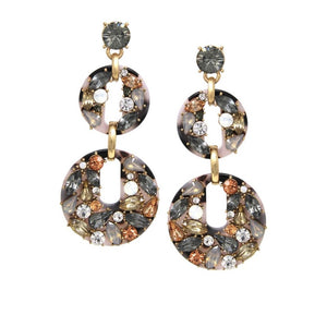 Tortoise Rhinestone Drop Earrings- hausofjan.com