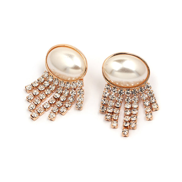 Pearl Stud Tassel Earrings - www.hausofjan.com
