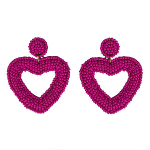 Pink Beaded Heart Earrings - hausofjan.com