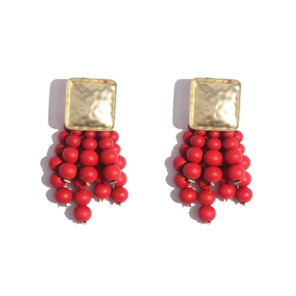 Red Beaded Tassel Earrings - hausofjan.com