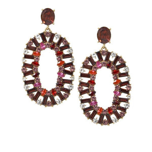 Red Multi Rhinestone Drop Earrings - hausofjan.com