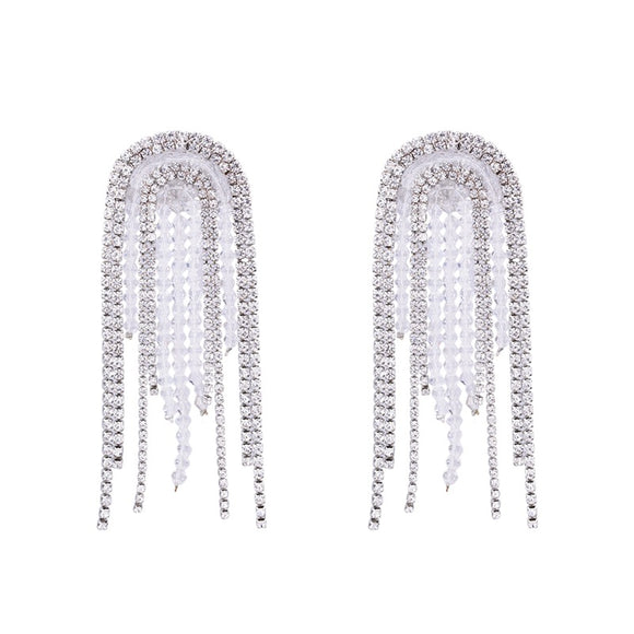 Rhinestone Glamour Tassel Wedding Earrings  - hausofjan.com