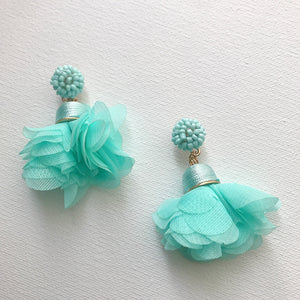Bead & Fabric seafoam green Dangle Earings - hausofjan.com