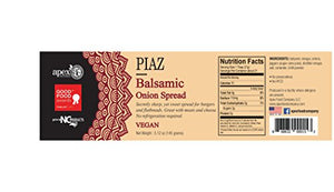 Piaz Balsamic Onion Spread - Vegan 5.12 OZ Good Food Awards 2017 Finalist : Gateway