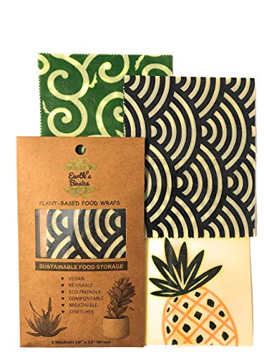 Reusable Organic Food Wraps, Assorted Design 3 Pack by Earth's Basics - Plant Based Food Wraps, Vegan, Non-Toxic, Eco friendly - 3 Medium Wraps: Gateway