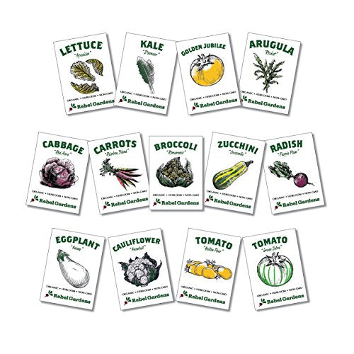 Heirloom Vegetable Seeds - 13 Varieties of Organic Non-GMO Open Pollinated Garden Seed for Planting