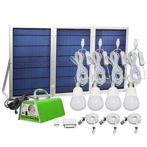 [30W Panel Foldable] HKYH Solar Panel Lighting Kit, Solar Home DC System Kit, USB Solar Charger with 4 LED Light Bulb as Emergency Light and 5 Mobile Phone Charger/5V 2A Output Can Charge Power Bank: Gateway