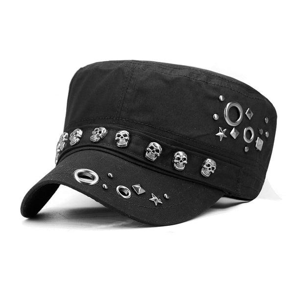 Adult Hip Hop Punk Rock Skull Rivet Flat Peaked Hats