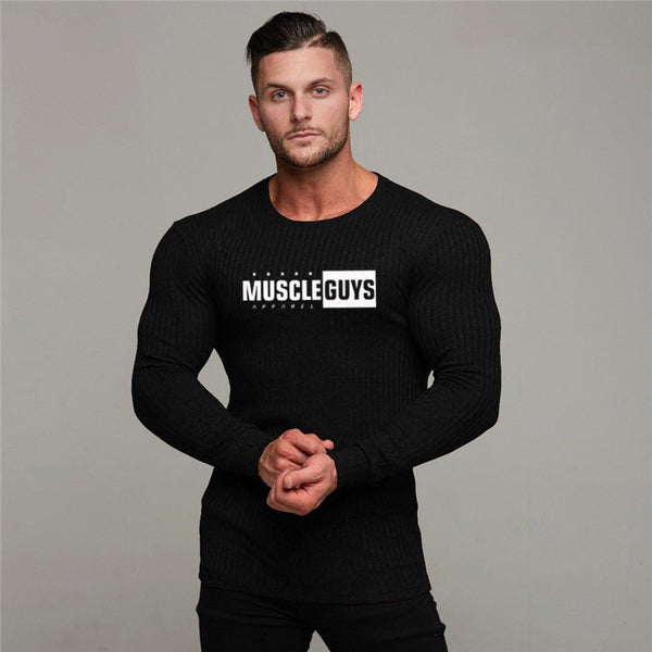 Spring Slim Men's Bodybuilding Long Sleeve Top