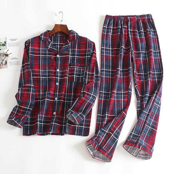 Plaid Flannel Sleepwear Velvet Soft Long-sleeved Pajamas Suit