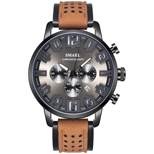Casual Military Style Leather SL-9077 Clock Wristwatch