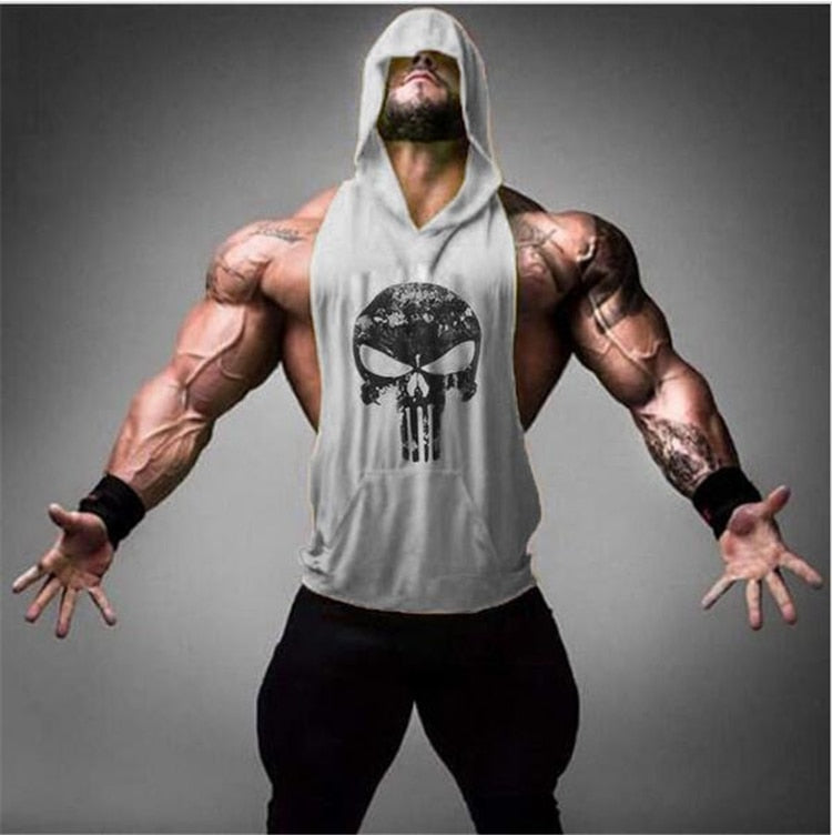 Skull Bodybuilding Stringer Work Out Cotton Tank Top For Men