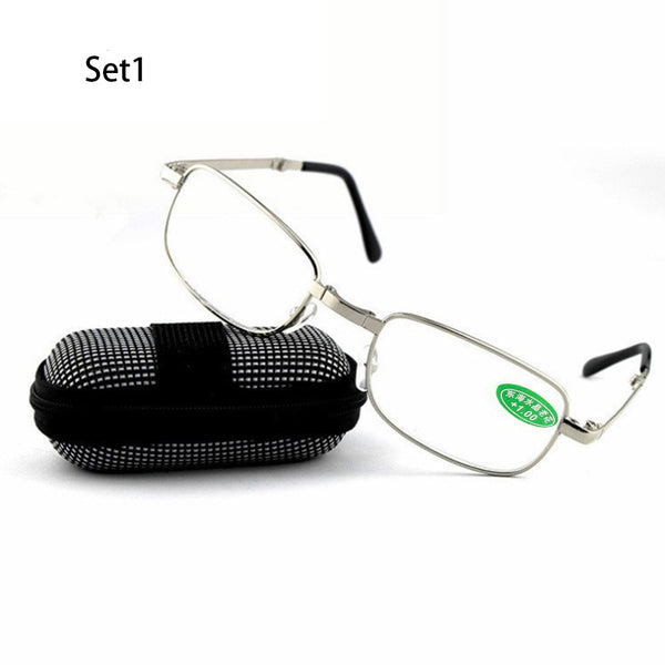 Unisex Diopter Rimless Magnetic Folding Reading Glasses with Box