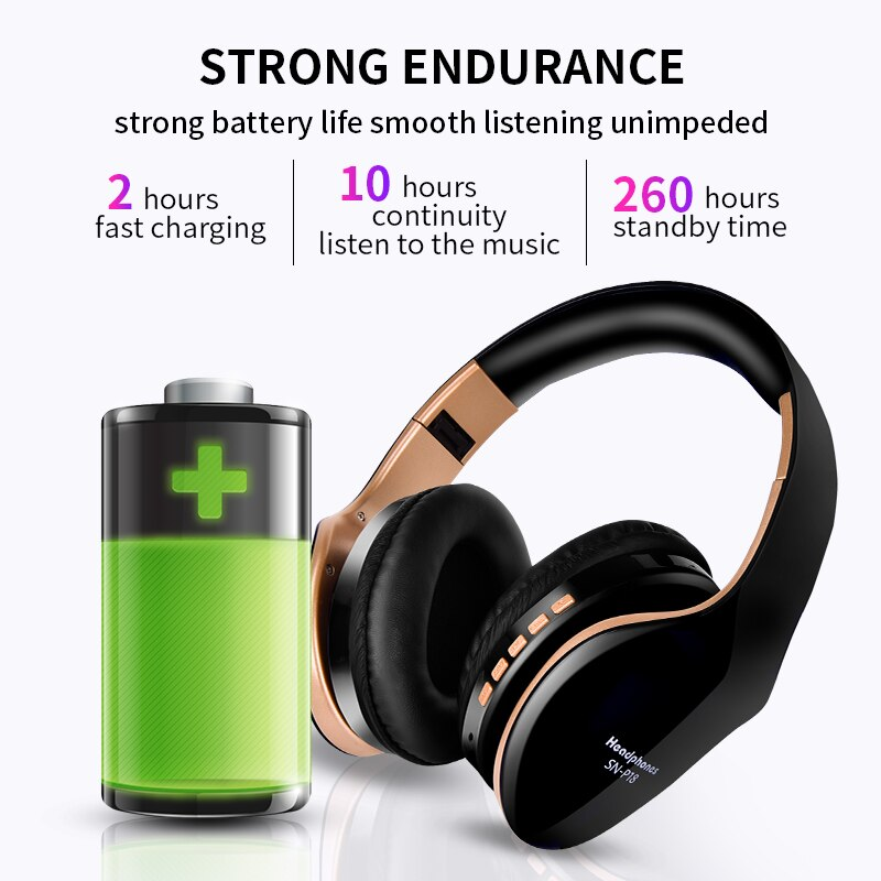 Wireless Bluetooth Noise Cancelling Foldable Stereo Bass Sound Adjustable Headphones With Mic