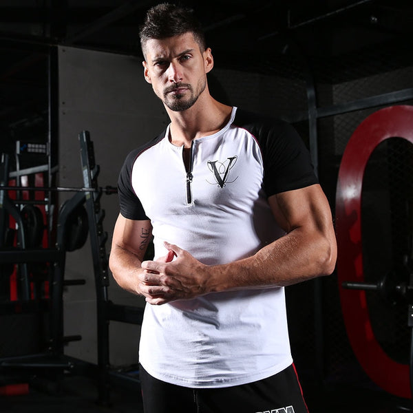 Male Novelty Design Fashion Casual Short Sleeves Fitness Top
